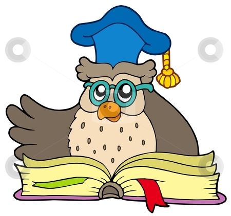 Cartoon owl teacher with book stock vector clipart, Cartoon owl teacher with book - vector illustration. by Klara Viskova