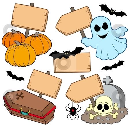 Halloween wooden signs collection stock vector clipart, Halloween wooden signs collection - vector illustration. by Klara Viskova