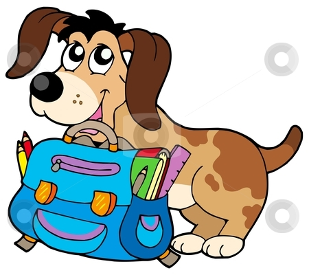 Dog with school bag stock vector clipart, Dog with school bag - vector illustration. by Klara Viskova