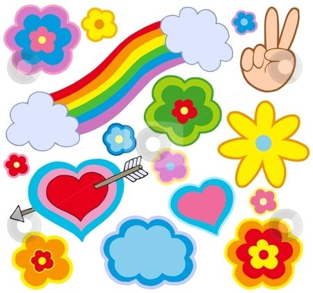 Hippie decorations stock vector clipart, Hippie decorations on white background - vector illustration. by Klara Viskova
