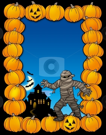Halloween frame with mummy stock photo, Halloween frame with mummy - color illustration. by Klara Viskova