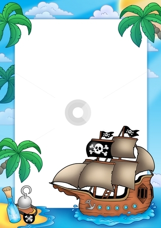 Frame with pirate ship stock photo, Frame with pirate ship - color illustration. by Klara Viskova