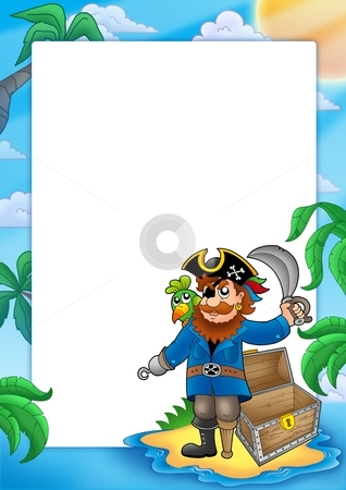Frame with pirate on beach stock photo, Frame with pirate on beach - color illustration. by Klara Viskova