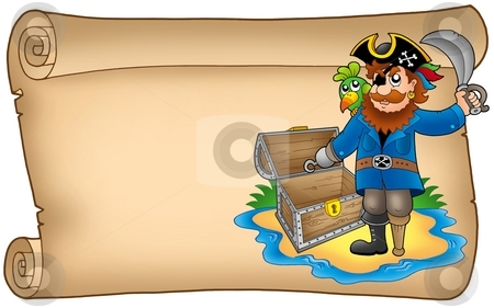 Old scroll with pirate stock photo, Old scroll with pirate - color illustration. by Klara Viskova