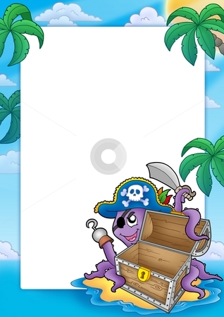 Frame with pirate octopus stock photo, Frame with pirate octopus - color illustration. by Klara Viskova
