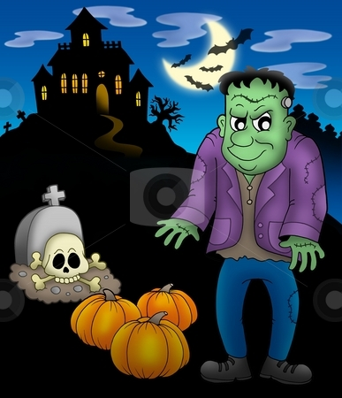Frankestein with haunted mansion stock photo, Frankenstein with haunted mansion - color illustration. by Klara Viskova