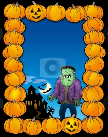 Halloween frame with Frankenstein stock photo, Halloween frame with Frankenstein - color illustration. by Klara Viskova