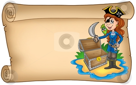 Old scroll with pirate girl stock photo, Old scroll with pirate girl - color illustration. by Klara Viskova