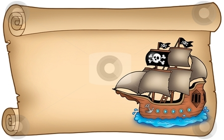 Old scroll with pirate ship stock photo, Old scroll with pirate ship - color illustration. by Klara Viskova