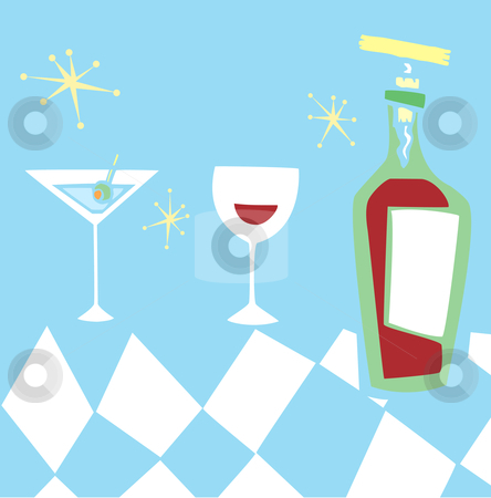 Retro Styled Drinks stock vector clipart, Space age retro styled group of alcoholic drinks. by Jeffrey Thompson