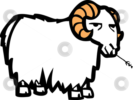 Goat stock vector clipart, Long wool coated cartoon goat chewing on a blade of grass. by Jeffrey Thompson