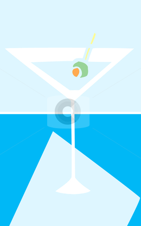 Martini Glass stock vector clipart, Retro styled martini glass in cool colors. by Jeffrey Thompson