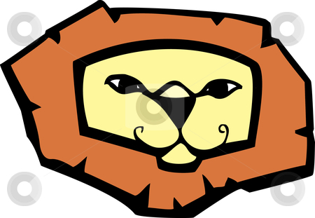 Lion Head stock vector clipart, Cartoon of a stylized lion's head and mane. by Jeffrey Thompson