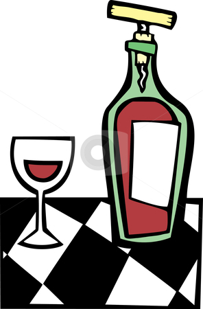 Retro Wine and Glass #1 stock vector clipart, Space age retro styled wine bottle and glass. by Jeffrey Thompson