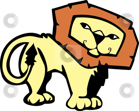 Lion stock vector clipart, Cartoon of a male African lion with a pleasant expression. by Jeffrey Thompson
