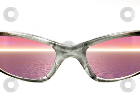 Sunglasses with Sunset stock photo, Sunglasses with Sunset on a white background by John Teeter