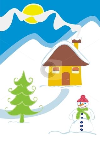 Vector illustration of a snowman and a Christmas tree stock vector clipart, Vector illustration of a snowman and a Christmas tree in front of a house with mountains in background by pilgrim.artworks