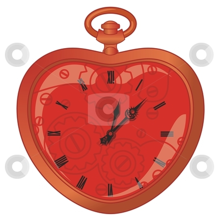 Vector illustration of a vintage clock in a heart shape stock vector clipart, Vector illustration of a vintage clock in a heart shape by pilgrim.artworks