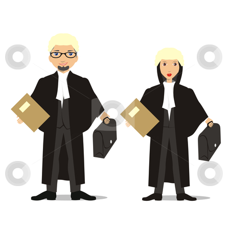 Barristers and Judges stock vector clipart, Fully editable isolated people with different occupations by pilgrim.artworks