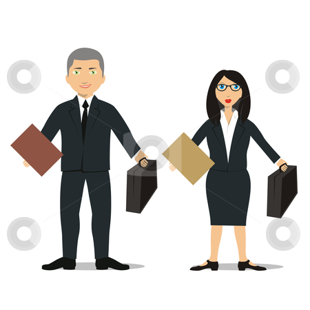 Fully editable business people with briefcase clipart stock vector clipart, Fully editable isolated people with different occupations by pilgrim.artworks