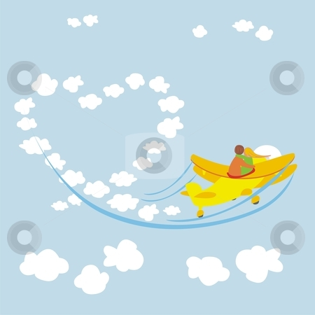 Vector illustration of young couple in love flying with an airplane  stock vector clipart, Vector illustration of young couple in love flying with an airplane by pilgrim.artworks
