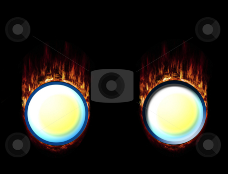 Hot Fire Buttons, pressed and unpressed stock photo, Two burning buttons with high-resolution flames by Reinhart Eo