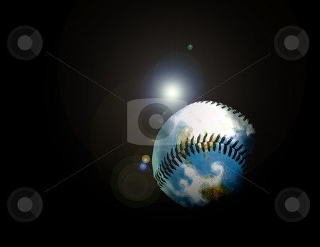 This baseball hit even flies outer space!!! stock photo, The World of Baseball - Baseball Earth by Reinhart Eo