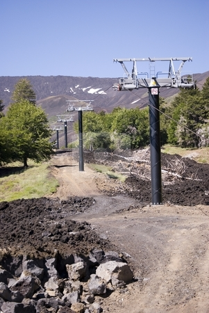 Cableway Of North Etna stock photo, The image shows the new cable way of m.te Etna (north) by Antonino Sicali