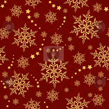 Seamless snowflakes and stars, winter pattern stock vector clipart, Red golden snowflakes, winter texture that will tile seamlessly. 3 global colors, artwork grouped and layered. by Ina Wendrock