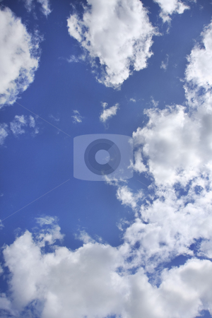 Blue sky and clouds stock photo, Cloudscape with blue sky by Sharron Schiefelbein