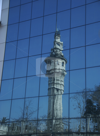Reflection in glass stock photo, Reflection of a Minaret in the glass by Sharron Schiefelbein