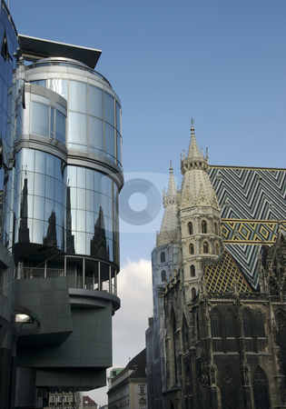 Stephansdom Church in Vienna stock photo, Reflection of the Stephansdom Church in the glass by Sharron Schiefelbein