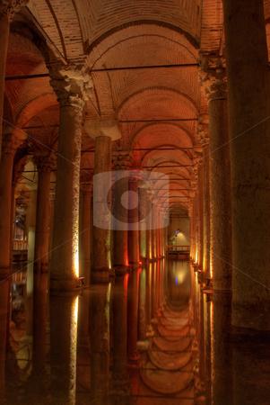 Byzantine Basilica Cistern stock photo, The cavernous interior of the Byzantine Basilica Cistern by Sharron Schiefelbein
