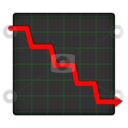 Icon Statistic Down stock photo, Icon statistic with graph on white background by Henrik Lehnerer