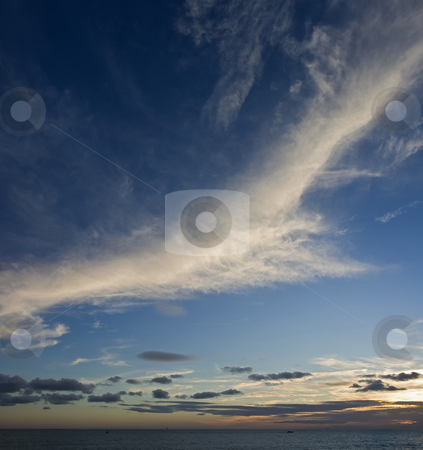 Cirrus At Sunset stock photo, Clouds lit during a beautiful sunset in Genoa by ANTONIO SCARPI