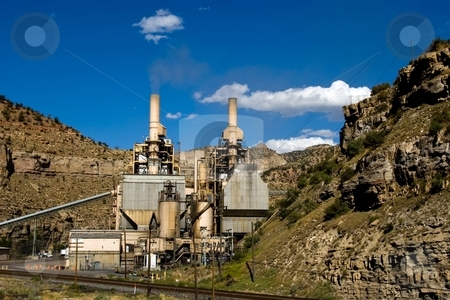 Coal Power stock photo, A small coal fired power plant in a canyon. by Andrew Orlemann