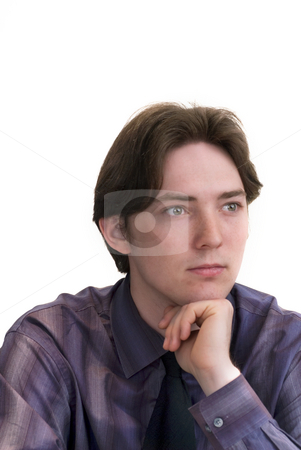 Man looking stock photo, Close up of a young male in purple shirt by Marek Poplawski