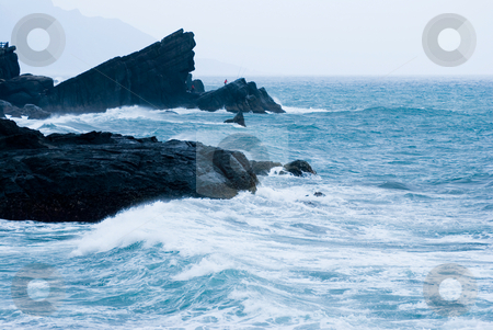 Rocky Seacoast with wave stock photo, Rocky Seacoast with wave, Taiwan, East Asia by Lawren