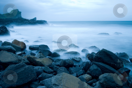 Rocky Seacoast, long time exposure, Taiwan, East Asia stock photo, Rocky Seacoast, long time exposure, Taiwan, East Asia by Lawren