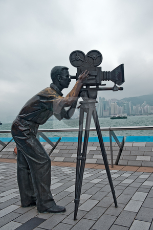Cameraman statue stock photo, Cameramen statue in Avenue of Stars  Hong Kong, Kawloon by Marek Poplawski
