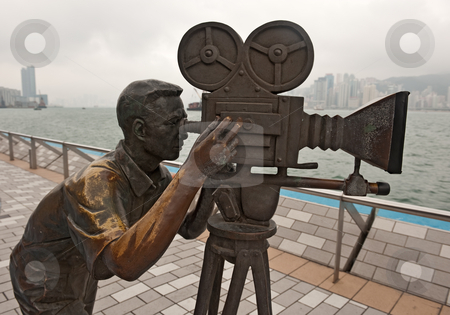 Bronze Cameraman stock photo, Bronze Cameramen statue in Avenue of stars in Hong Kong, Kawloon by Marek Poplawski