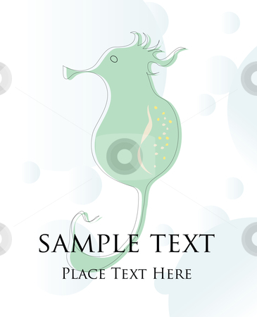 Hippocampus stock vector clipart, Seahorse card by Richard Laschon