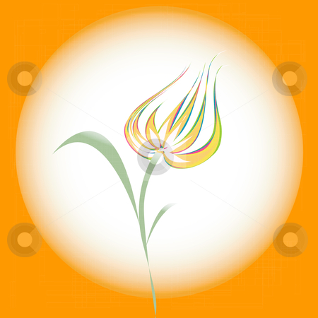 Tulip stock vector clipart, Stylized tulip on a warm background. Digital illustration. by Richard Laschon