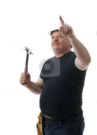Contractor stock photo, Contractor with a hammer looking for correct solution by Marek Poplawski