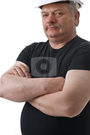 Boss stock photo, Confident boss expression portrait on white background by Marek Poplawski