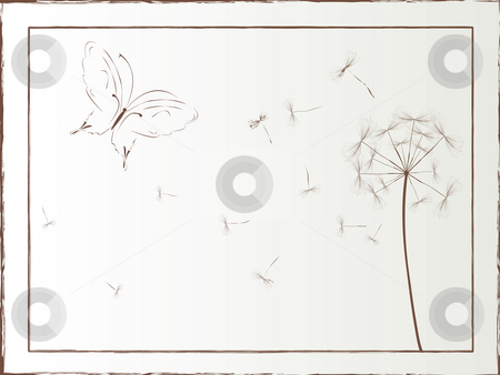 Dandelion design stock photo, Dandelion and butterfly framed illustration, vector art by Richard Laschon
