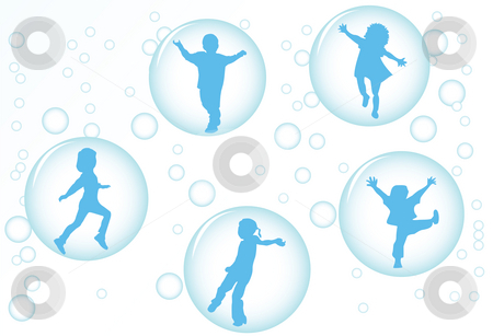 Bubble kids stock photo, Happy kids by Richard Laschon
