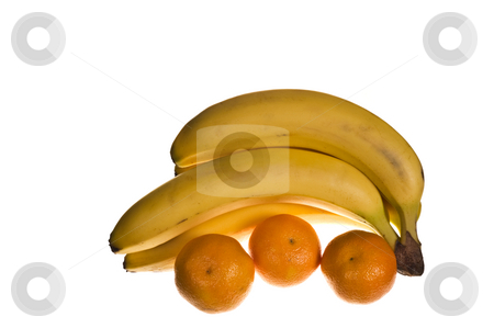 Ripe bananas and oranges stock photo, Ripe bananas and oranges with a white background by Marek Poplawski