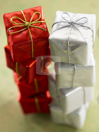 Close up of christmas presents stock photo, Close up of christmas present on the green background by eskaylim