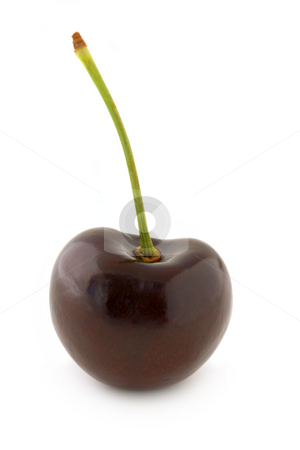 Red cherry stock photo, Dark red cherry, with stalk. Isolated on white background, with shadow. by Natalia Banegas